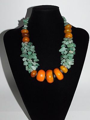 African Berber resin trade beads with aventurine Jade Necklace