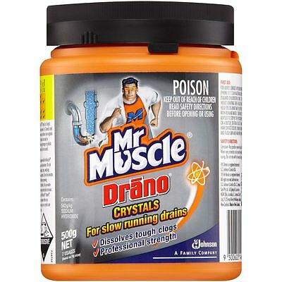Mr Muscle Drano Crystals - Clears Slow Running Drains 500g