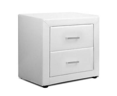 NEW PU Leather Bedside Table 2 Drawers White
