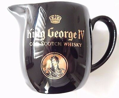 King George IV Old Scotch Whisky Water JUG WADE of England Black