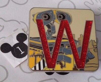 Wall-E Chaser Pixar Alphabet Mystery Collection Letter W Glitter Disney Pin