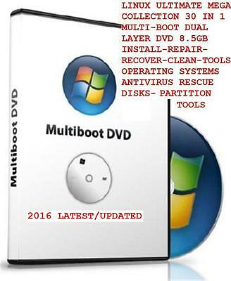Linux Ultimate Dvd 30 In 1 Mega Collection Multiboot Install Repair - Clean&more
