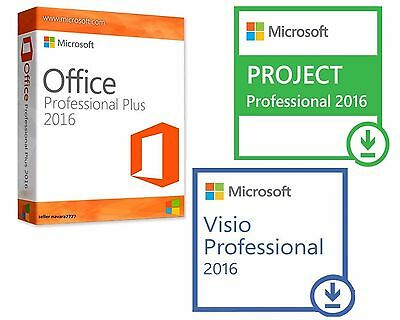 Office 2016 Pro + Visio 2016 Pro + Project 2016 Professional 32/64 Key & Link