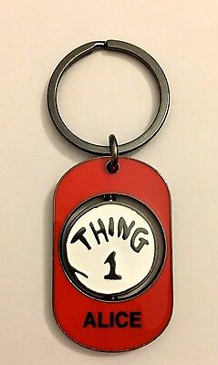 "UNIVERSAIL STUDIOS Dr Suess ""ALICE"" THING 1 & THING 2 Spinner Key Chain New"