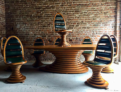 Mid Century Carlo Di Carli Style Dining Table & Eight Chairs Conference 1960's