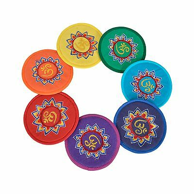 """Bermoni ROUND CUSHION FOR SINGING BOWL WITH EMBROIDERED """"OM"""" DESIGN"""