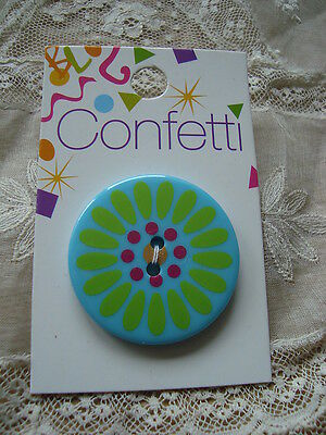 Card Confetti Turquoise/Green  Flower Button