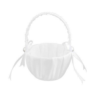 White Satin Beaded Wedding Flower Girl Basket Bowknot Decor W8C4