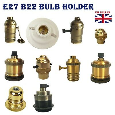 B22 E27 220V Brass Bronze Lamp Bulb Holder Socket for Vintage Edison Filament