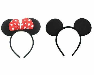 Mickey or Minnie Mouse Ears Headband Bow Disney Costume Fancy Dress Unisex New