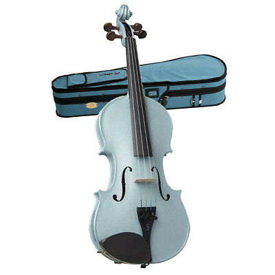 STENTOR - Harlequin Series. 1/2 size violin outfit. Metallic Light Blue.
