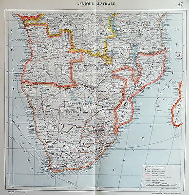 Map of Africa French Large 1925 Original Antique