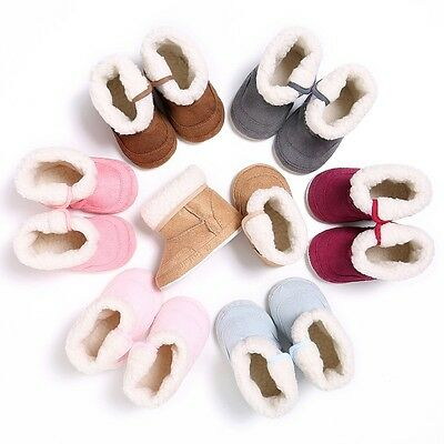 Infant Baby Boy Girl Warm Winter Soft Sole Crib Shoes Snow Boots Prewalker 0-18M