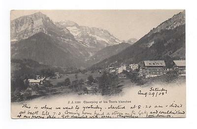 Vintage Postcard Champery & The Dents Blanches Switzerland Alps Posted 1908 18a
