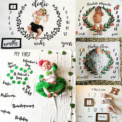 Baby Letter Milestone Blankets Photography Props Baby Photoshoot Backdrop