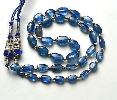 135.CT 16.5 Inch NATURAL DARK KYANITE SMOOTH NUGGETS BEADS NECKLACE 7 TO 11 MM