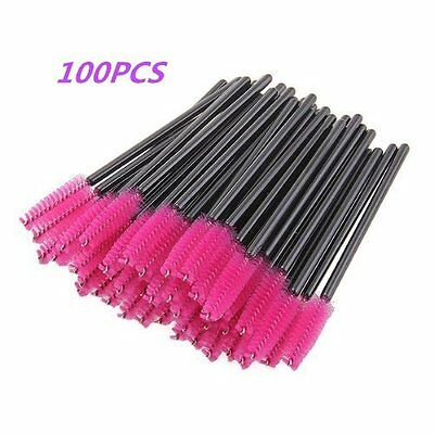 Hot 100Pcs Pink Eyelash Brush Mascara Wands Applicator Spoolers Makeup For Women