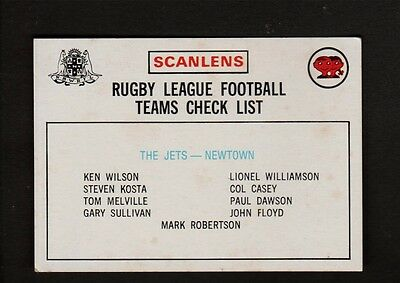 1975 Scanlens RUGBY LEAGUE THE JETS NEWTOWN CHECKLIS