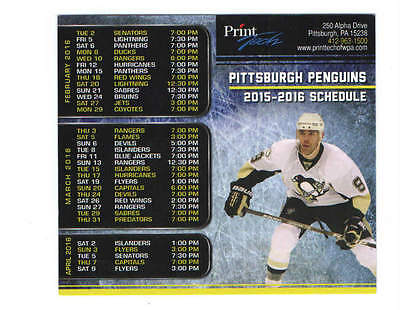 2015-16 Pittsburgh Penguins NHL Hockey Pocket Schedule  PASCAL DUPUIS PRINTTECH