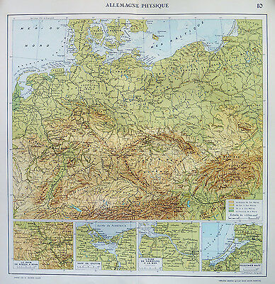 Map of Allemagne Germany Physical  French Large 1925 Original Antique