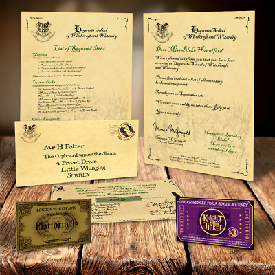 Harry Potter Hogwarts Acceptance Letter Personalised Gift + Free Express Ticket