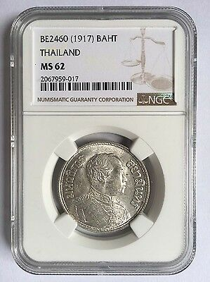 Thailand BE2460(1917) Silver Coin 1 Baht NGC MS62