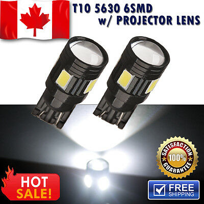 2 pcs White T10 3W  Interior License Map 5630 SMD 6 LED Light w/ Projector Lens