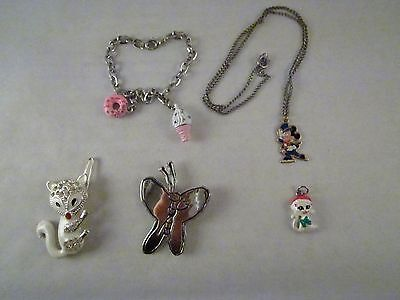 Mixed Children's Jewelry 5 Pieces Necklace Bracelet Hair Clip Pin Mickey Pendant