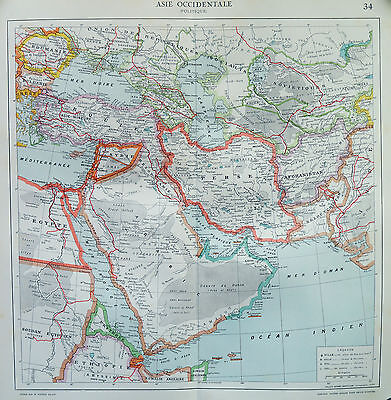 Map of Asia Persia French Large 1925 Original Antique