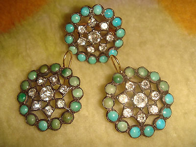 Victorian 14K Gold Silver Persian Turquoise French Paste Earrings & Ring 6+ Set