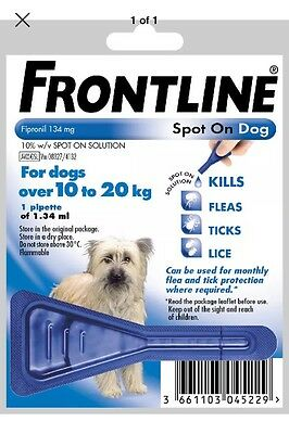 FRONT LINE Spot On Flea Treatment For Medium Dogs 10-20kg * ONE PIPETTE