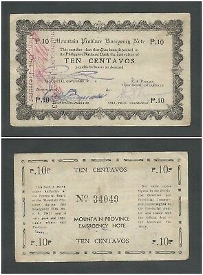 Philippines 10 Centavos 1942 in (VF) Banknote P-S592 Emergency MOUNTAIN