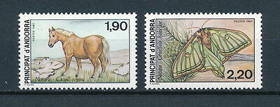 Andorra 355-6 MNH, Horse and Butterfly, 1987