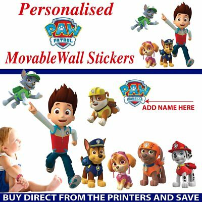 Personalized Paw Patrol Movable Wall Stickers