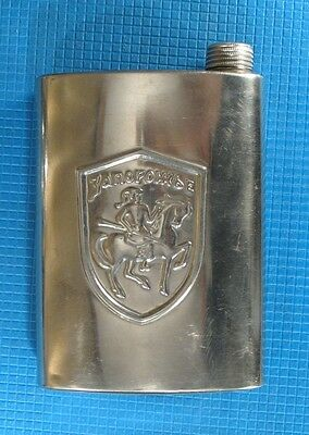 Vintage Ukrainian stainless Hip Flask Cossack canister canteen horse man militar