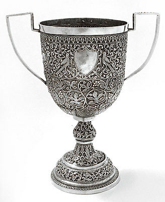 LARGE INDIAN COLONIAL SILVER INDIA KUTCH GUJARAT ANTIQUE TROPHY ca. 1880