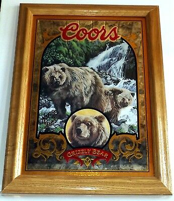 """1 Coors Nature Series Wildlife Mirror Picture, Grizzly Bear, 15 1/2"""" x 12 1/2"""""""