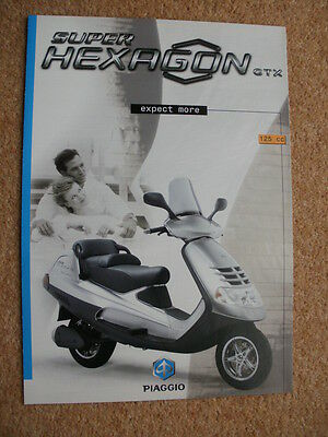 Original Piaggio Super Hexagon GTX 125 scooter brochure 2001
