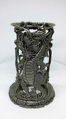 Three Headed Dragon Pewter Candle Holder