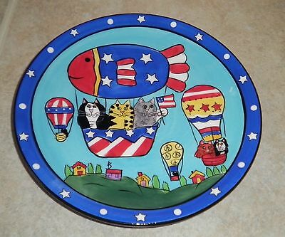"""CATZILLA Cats Hot Air Balloons Ceramic  8"""" Plate by Candace Reiter"""