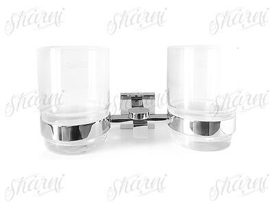 Wall Mount Double Glass Tumbler Toothbrush Holder Chrome Metal Bathroom 91104