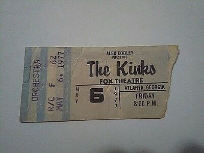 REAR 1977 THE KINKS AT FOX THEARE may/6/1977 ticket stub