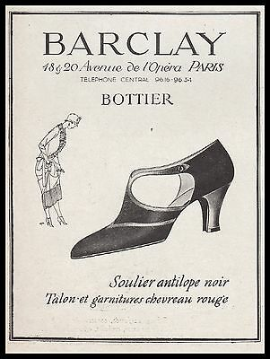 Publicite Chaussures  Barclay  Bottier Antilope  Fashion  Shoes  Ad  1924  - 11G