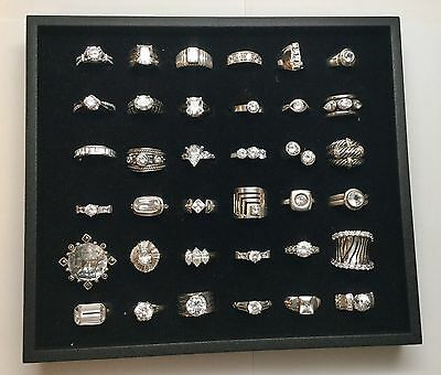 Lot Of 36 Sterling Silver Rings With Clear Stones and Cubic Zirconia (A)