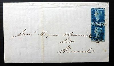 GB 1841 - 2d Blue Vertical Pair on Cover with Black MC NB1001