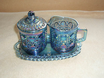 Carnival Blue Iridescent Windsor  4 Pieces Set Tray Creamer Sugar # 2