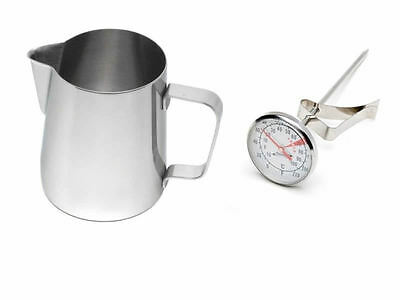 Stainless Steel Milk Coffee Cappuccino Latte Frothing Jug 600ml and Thermometer!
