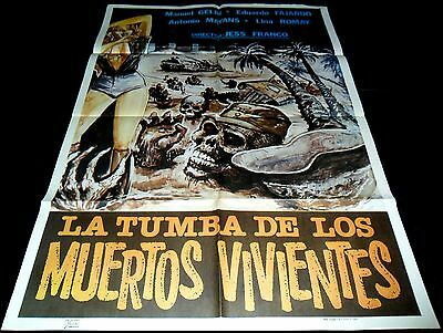 1982 Grave of the Living Dead ORIGINAL POSTER Jesus Franco Oasis of the Zombies
