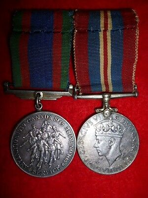 Canadian Volunteer Service Medal & War Medal Pair WW2 - Canadian Silver Issues