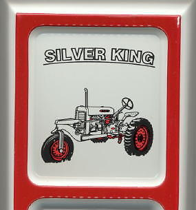 Silver King ~ Farm Tractor ~ Outdoor Tin Ad Thermometer